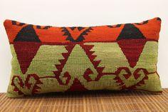 Mini Lumbar Cushion 10 x 20 Striped kilim pillow by kilimwarehouse, $48.00