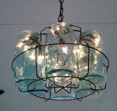 Vintage Chandeliar, Antique Mason Jars  Chandeliar, 6 Blue 1-QUART Jars and Wire Basket , Upcycled Lighting, Weddings,Garden Party