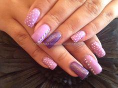 Image for Acrylic nails with purple polish and pocket dot nail art