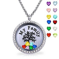 Necklace Floating Locket Pendant Family Tree of Life All Birthstone Charms Gift #Valentine's day