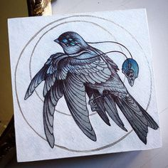 """A new painting in watercolor, silver acrylic and pen and ink. this piece is 6"""" by 6"""", paper mounted to 1.5"""" deep cradled birch panel. In my shop at www.caitlinhackett.storenvy.com"""