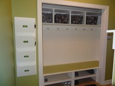Mudroom - Goodbye Closet...hello Organization! - Seriously considering doing this in the closet coming in from the garage.