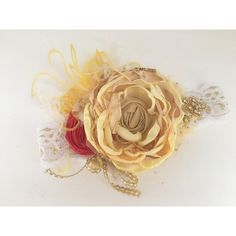 Beauty and the Beast Belle Inspired Couture Vintage Headband (82.405 COP) ❤ liked on Polyvore featuring accessories, hair accessories, grey, headbands & turbans, couture headbands, vintage headbands, turban headband, head wrap turban and vintage turban