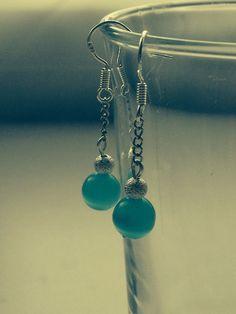 Blue cats eye drop earrings