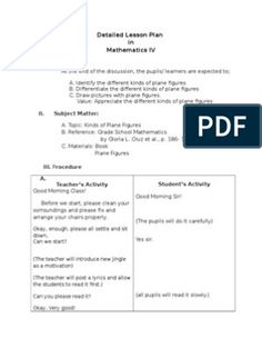 Detailed Lesson Plan in Mathematics IV (Plane Figures) Lesson Plan Pdf, Lesson Plan Format, Lesson Plan Examples, English Lesson Plans, Reading Lesson Plans, Lesson Plan Templates, Physical Education Lesson Plans, Science Lesson Plans, Science Lessons