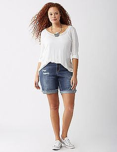 Casual, meet pretty: The distressed spots on these shorts reveal a peek of crochet. Rolled cuffs.  5-pocket styling. Button & zip fly closure. Belt loops. lanebryant.com