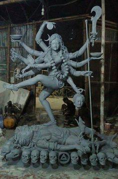 May be wrong but I'm pretty sure. Saraswati Goddess, Kali Goddess, Goddess Art, Shiva Shakti, Hindu Kunst, Hindu Art, Ganesha Painting, Ganesha Art, Mother Kali