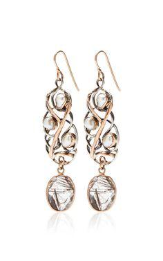 One Of A Kind 12K Gold Earrings With Pearl And Rutilated Quartz by Sandra Dini - Moda Operandi