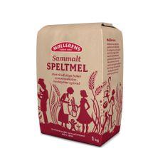 Møllerens Sammalt Speltmel flour packaging emballasje GRID design Kate Forrester Illustration