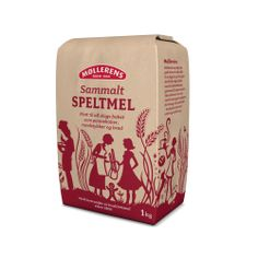 Møllerens Sammalt Speltmel flour packaging emballasje GRID design Kate Forrester Illustration