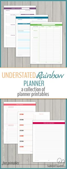Understated Rainbow Planner Printables