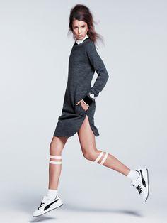 Joseph dress, Marc Jacobs shirt, Low Luv x Erin Wasson earrings: Varsity-Inspired Fashion: Feature: teenvogue.com