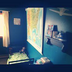 Boys adventurer bedroom. Maps. Planes. IKEA bedding.