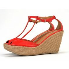 Taramay T-bar Wedge Sandals in Scarlet