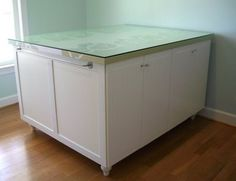 A DIY Cutting Table Using Ikea Kitchen Cabinets For The Base   Lots Of  Storage Underneath