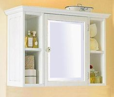 Small White Bathroom Wall Cabinet with Shelf - Home Furniture Design Small Bathroom Wall Cabinet, Bathroom Mirror Storage, Bathroom Medicine Cabinet, Medicine Cabinets, Bathroom Mirrors, Small White Bathrooms, Beautiful Bathrooms, Modern Bathroom, Bathroom Ideas