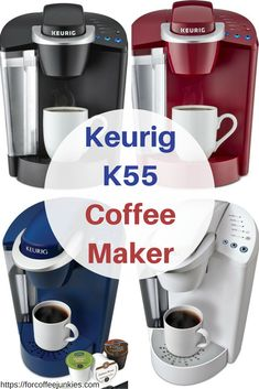 Keurig K55 coffee makers are single cup coffee makers are available in red, blue, white, and black.
