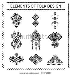 Elements of folk design. Tribal Ethnic collection, the elements of ethnic patterns of the Aztecs. Isolated on white background. - stock vector