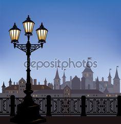 Paisagem urbana de noite com lanterna rua luminosa — Stock Illustration #60451043