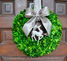 Preserved Boxwood Wreath Christmas Wreath by SomethingWhimdesigns, Etsy...