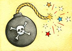 Original Bomb with Skull and Crossbones Mini Neo-Traditional, Old School Tattoo Flash Card