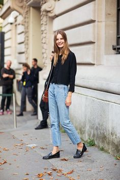 Black Top, Jeans and Black Loafers Street style