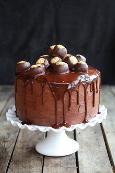 Ultimate Triple Layer Chocolate Bourbon Peanut Butter Cake