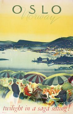 The poster depicts the panoramic view over the city of Oslo from the well know terrace of Ekebergrestauranten