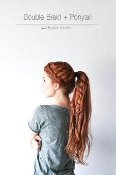 The double braid + ponytail Hairstyle (The Freckled Fox)