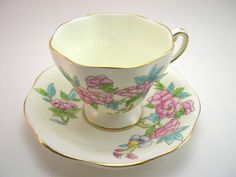 Antique Foley Tea cup and saucer set Yellow by AntiqueAndCrafts