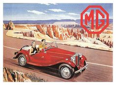 Safety fast! MG TD. Vintage Classic Cars Poster Advertising