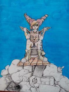 """""""La dueña del conejo."""" lápices rotuladores y rotrig"""