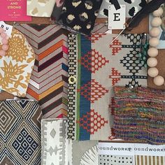 @erinkinginteriordesign's colorful mood board is bringing warm thoughts to this cold day. I spy our Flower print in Cumin.