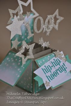 Pop up box Card with Glimmer Stars for a super special 100th Birthday. Irresistible Designer Paper with Bravo Stamp Set - Hip Hip Hooray by Mikaela Titheridge, Independent Stampin' Up! Demonstrator, The Crafty oINK Pen, Spaldwick, Cambs UK
