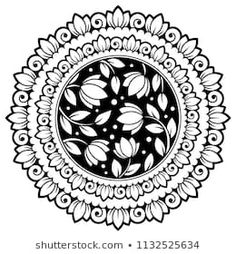 Circular pattern in form of mandala with flower for Henna, Mehndi, tattoo, decoration. Decorative ornament in ethnic oriental style. Coloring book page. Mandala Art Lesson, Mandala Artwork, Mandala Drawing, Mandala Painting, Circle Drawing, Circular Pattern, Mandala Pattern, Mandala Design, Pattern Art