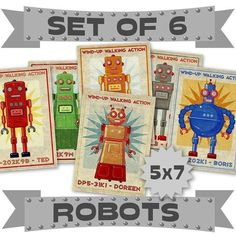 Robot Prints 6 Retro Robot Art 5 x 7 Land of Nod von johnwgolden