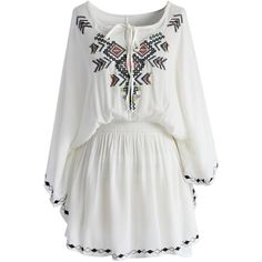 Chicwish Flair Boho Stitch Tunic in White ($48) ❤ liked on Polyvore featuring tops, tunics, white, cutout top, white embroidered tunic, kimono sleeve tunic, cross tops and bohemian tunic