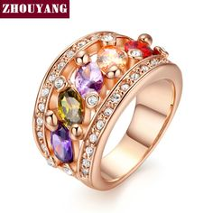 ZHOUYANG Top Quality ZYR280 Fashion Multicolour Ring Rose Gold Color Austrian Crystals Full Sizes Wholesale #Affiliate