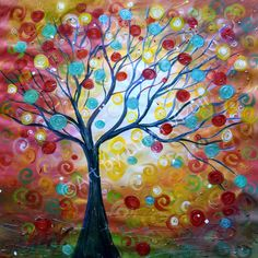 Original Painting Large Canvas Tree Fall Sunset by LUIZAVIZOLI