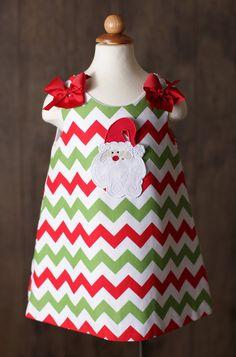 CM Holiday Chevron Santa Dress www.facebook.com/Southerntots