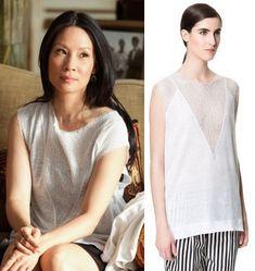 Elementary season 2, episode 1: Joan Watson's (Lucy Liu) white mesh linen t-shirt by Zara #getthelook #elementary #zara