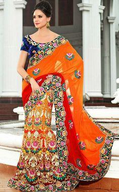 USD 179.6 Orange Embroidery Net Wedding Lehenga Saree 28440