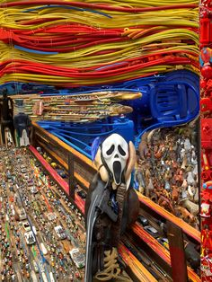 French artist Bernard Pras has created these fantastic large-scale anamorphic installations out of found objects