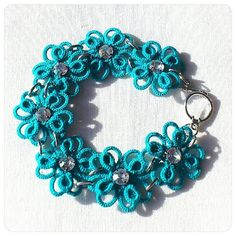 Turquoise Tatted Bracelet - Multilayered Tatted  Lace