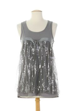 T-shirts / Tops Tops MOLLY BRACKEN - couleur GRIS - matiere Polyester Coton Elasthane