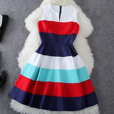Striped dress fashion