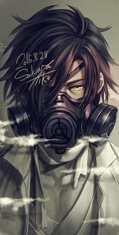 Cool gas mask guy with yellow eyes, I plan to draw a full-body of this guy with a slightly different haircut later in time^^