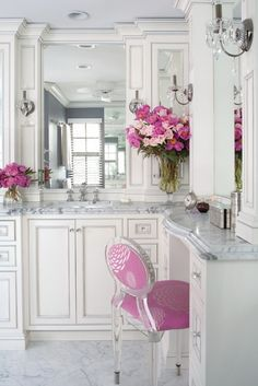 Maybe not my 'dream' bath, but really love the all white  with accents of pink...very striking