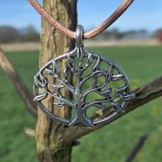 Silver Tree Of Life Pendant - Genuine Tan Leather Thong Cord - Hippy Boho Choker Necklace - Hippy Magic by PhoebesBazaar on Etsy