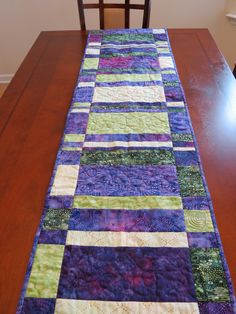 Purple and Green Batik Quilted Table Runner by QuiltsClothsCovers, $40.00